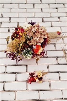Yapay Çiçek Deposu - Munis Büyük Kuru Çiçek Gelin Buketi 2li Set