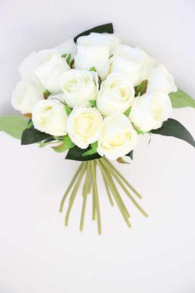 Yapay Çiçek Deposu - Yapay Çiçek 15li Tomur Gül Buketi Kırık Beyaz