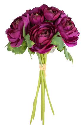 Yapay Çiçek Deposu - Yapay Çiçek Yassı Şakayık Gül Buketi Mürdüm