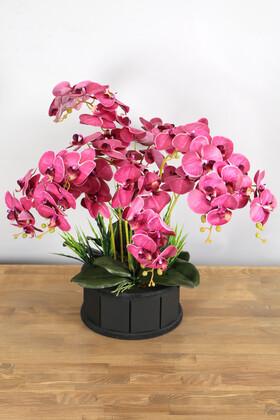 Yapay Çiçek Deposu - Dekoratif Ahşap Saksıda 7 Dal Orkide Tanzimi Mürdüm