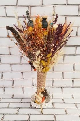 Yapay Çiçek Deposu - Büyük Kuru Çiçek Gelin Buketi Bej - Turuncu