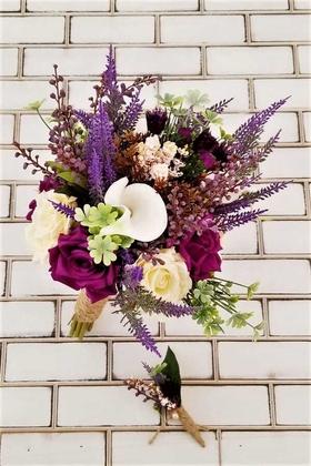 Yapay Çiçek Deposu - Neora Lavantalar ve Güller Mürdüm Krem Kokteyl Gelin Buketi 2li Set