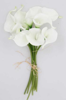 Yapay Çiçek Deposu - Yapay Çiçek Islak Gerçek Gala Çiçeği 8 Dal Net Beyaz