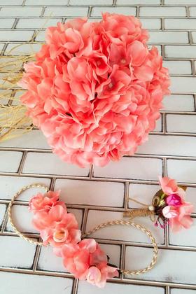 Yapay Çiçek Deposu - Niobe Gelin Buketi Pembe Ortanca 3lü Set