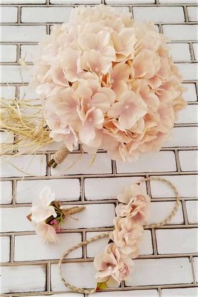 Yapay Çiçek Deposu - Niobe Gelin Buketi Somon Ortanca 3lü Set