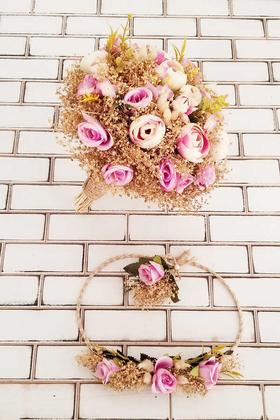 Yapay Çiçek Deposu - Nodari Gelin Buketi Cipso ve Gül Şöleni Açık Mor Lila 3lü Set