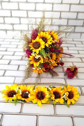 Yapay Çiçek Deposu - Nova Ayçiçeği Gelin Buketi 3lu Set