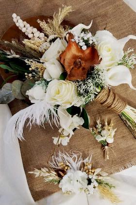 Yapay Çiçek Deposu - Gelin Buketi Elvera 3lü Set