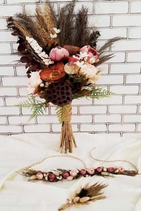 Yapay Çiçek Deposu - Exclusive Serisi Devi Büyük Gelin Buketi 3lü Set