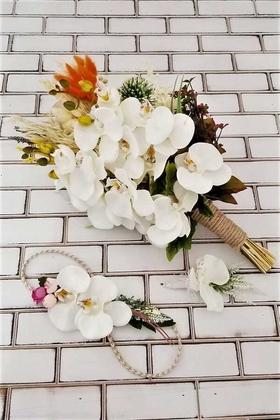 Yapay Çiçek Deposu - Beyaz Orkide Şakayık Kuru Çiçek Şöleni Casabel Gelin Buketi 3lü Set