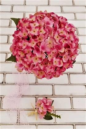 Yapay Çiçek Deposu - Ortanca El Buketi Fuşya
