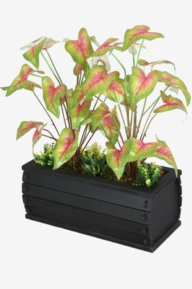 Yapay Çiçek Deposu - Dekoratif Saksıda Yapay Botanik Bahçesi Yeşil-Fuşya