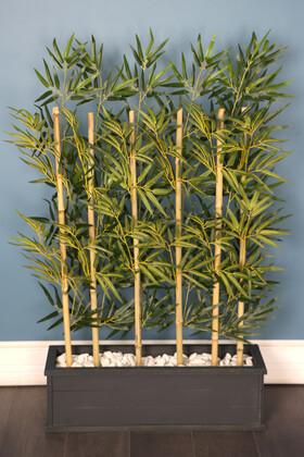 Yapay Çiçek Deposu - 1. Sınıf Kumaş Yapraklı 6 Çubuklu Gri Saksıda Bambu Seperatör (20x70x120cm)