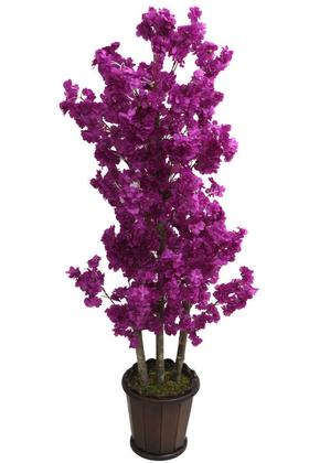 Yapay Çiçek Deposu - Oval Saksıda Yapay Bahar Dalı Ağacı 150 cm Mor