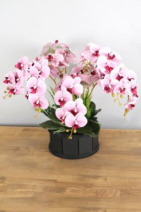 Yapay Çiçek Deposu - Dekoratif Ahşap Saksıda 7 Dal Orkide Tanzimi Pembe Çizgili