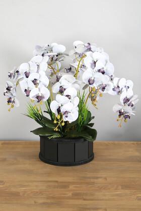 Yapay Çiçek Deposu - Dekoratif Ahşap Saksıda 7 Dal Orkide Tanzimi Gri Mor