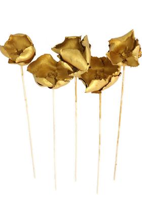 Yapay Çiçek Deposu - Kuru Çiçek 5li Palm Cap Demeti 45 cm Palm Cup Çiçeği Gold-Altın