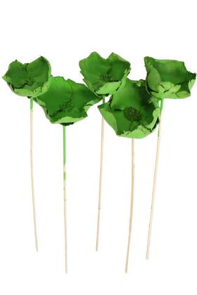 Yapay Çiçek Deposu - Kuru Çiçek 5li Palm Cap Demeti Palm Cup Çiçeği 45 cm Retro Yeşil