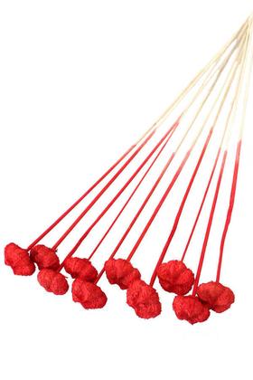 Yapay Çiçek Deposu - 10lu Paras Ped Bleach on Stem 45 cm Kırmızı