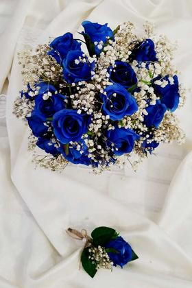 Yapay Çiçek Deposu - Parlement Mavi Güller Cipso Şöleni Gelin Çiçeği 2li Set
