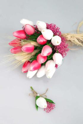 Yapay Çiçek Deposu - Gonca Islak Lale Gelin Çiçeği 2li Set Beyaz-Pembe