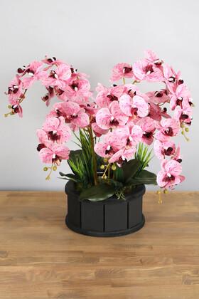 Yapay Çiçek Deposu - Dekoratif Ahşap Saksıda 7 Dal Orkide Tanzimi Pembe Benekli