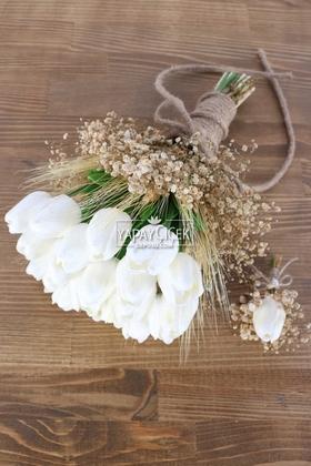 Yapay Çiçek Deposu - Melia Gelin Buketi Islak Lale Cipso 2li Set