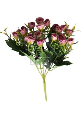 Yapay Çiçek Deposu - Ucuz yapay çiçek pastel tomurcuk gül demeti (Gül kurusu)