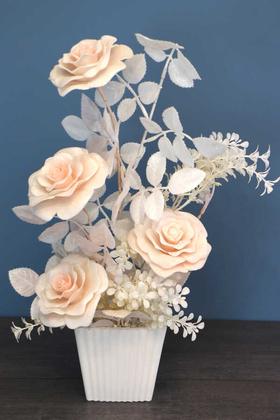 Yapay Çiçek Deposu - Plastik Saksıda Simli Yapay Gül Tanzim 50cm Somon