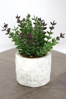 Yapay Çiçek Deposu - Beton Saksıda Yapay Masa Çiçeği Model 20