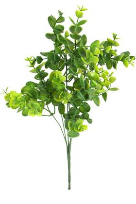 Yapay Çiçek Deposu - 5 Dal Plastik Okaliptus Demeti 32 cm Yeşil