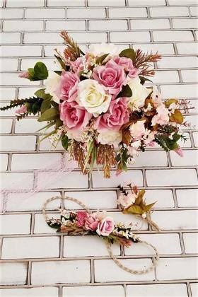 Yapay Çiçek Deposu - Polya Sarkan Pembe Beyaz Güller Gelin Buketi 3lü Set