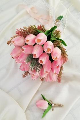 Yapay Çiçek Deposu - Gelin Çiçeği Tİthis 2li Set(Pembe Islak Lale)
