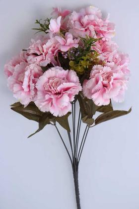 Yapay Çiçek Deposu - Yapay Çiçek 11 Dal Lüx Karanfil Aranjmanı Açık Pembe