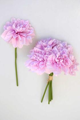 Yapay Çiçek Deposu - Yapay Krizantem Dahlia Yıldız Çiçeği 25cm Lila