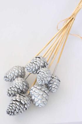 Yapay Çiçek Deposu - 7li Çam Kozalak Bambu Saplı Gümüş Renk (Silver)
