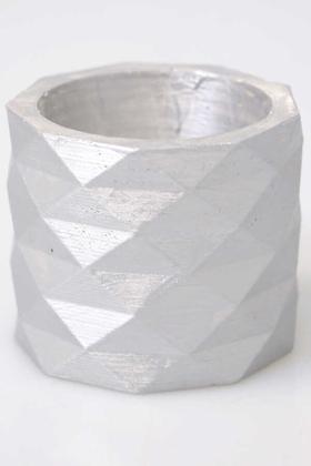 Yapay Çiçek Deposu - Renkli Geo Mini Beton Saksı Gümüş