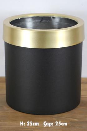 Yapay Çiçek Deposu - Dekoratif Metal Saksı Siyah Altın 25 cm
