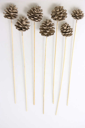 Yapay Çiçek Deposu - 7li Çam Kozalak Bambu Saplı Kum Rengi