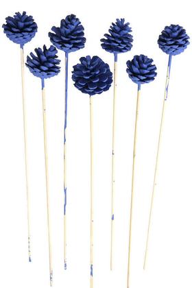 Yapay Çiçek Deposu - 7li Çam Kozalak Bambu Saplı Saks Mavi
