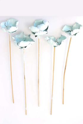 Yapay Çiçek Deposu - Kuru Çiçek 5li Palm Cap Demeti 45 cm Palm Cup Çiçeği Uçuk Mavi