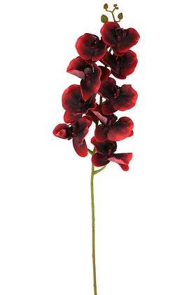 Yapay Çiçek Deposu - Yapay Islak Dokulu Premium Orkide Çiçeği 97 cm Kırmızı