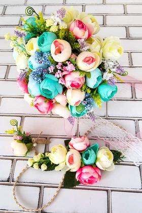 Yapay Çiçek Deposu - Gelin Çiçeği Rosetif 3lü Set