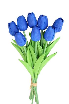 Yapay Çiçek Deposu - Yapay 8li Islak Lale Buketi Gerçek Doku Saks Mavi