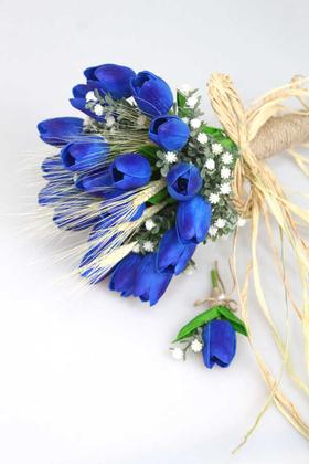 Yapay Çiçek Deposu - Gonca Islak Lale Gelin Çiçeği 2li Set Saks Mavi