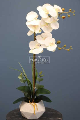 Yapay Çiçek Deposu - Dekoratif 2li Nismo Yapay Islak Orkide Tanzimi Beyaz 65 cm