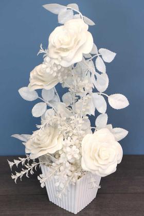 Yapay Çiçek Deposu - Plastik Saksıda Simli Yapay Gül Tanzim 50cm Beyaz