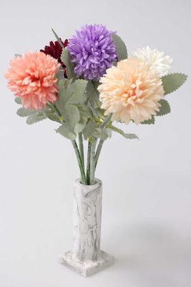 Yapay Çiçek Deposu - Handmade Mermer Görünümlü Beton Vazoda Yapay 5li Kasımpatı 30cm