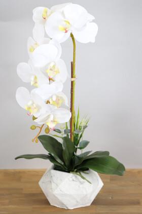 Yapay Çiçek Deposu - Beton Saksıda Yapay Baskılı Islak Orkide 55 cm Beyaz-Fıstık