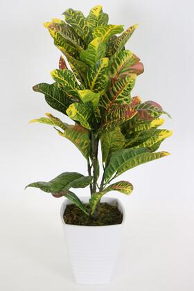 Yapay Çiçek Deposu - Melamin Saksıda Yapay Lüx Büyük Kraton Bitkisi 70 cm